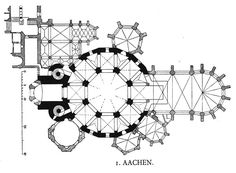 Aachen, Palatine chapel plan. The chapel is derived from S. Vitale at Ravenna (notice the circular plan with an octagon inside).