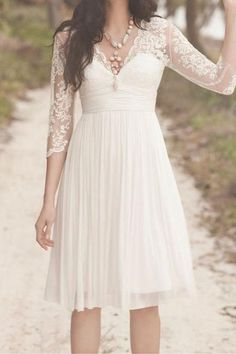 Ivory Lace Prom Dress White Wedding Dress Short Bridal Gown 3/4 Sleeves V-neck Chiffon Evening Dress Party/Cocktial/Formal Dress