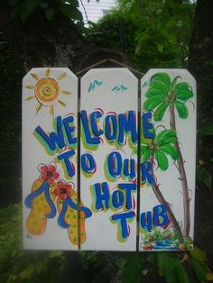 TROPICAL WELCOME POOL PATIO TIKI BAR HUT HOT TUB HOUSE BEACH  PLAQUE SIGN #FRANSCOUNTRY