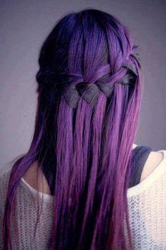 Purple ombre hair in a waterfall braid. I want dark purple hair! Hairstyles Haircuts, Pretty Hairstyles, Braided Hairstyles, Style Hairstyle, Wedding Hairstyles, Hairstyle Ideas, Amazing Hairstyles, Ladies Hairstyles, Quick Hairstyles
