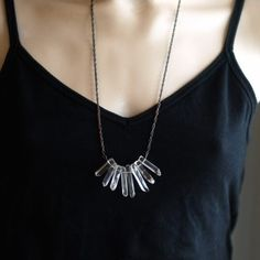 Crystal Point Necklace by ShopClementine on Etsy,