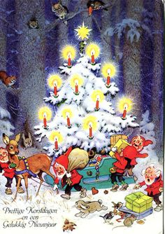 "Fritz Baumgarten ""Christmas"" postcard: ""Prettige Kerstdagen en een Gulukkig Nieuwjaar"" one of a set of four postcards, gnomes decorating a Christmas tree in the forest"