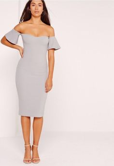 Bardot dresses are what every Missguided girls wardrobe is craving this  season! In a standout shade of ice grey, our fave figure flattering bodycon  fit and ...
