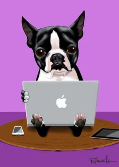 Boston Terrier loves his macbook by rubenacker on Etsy, $18.00