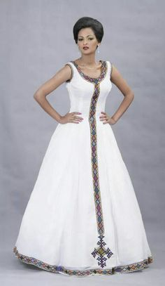 For inspiration only. Add your fringes and ribbon of blue. Beautiful Ethiopian Dress I love it African Dresses For Women, African Print Dresses, African Print Fashion, African Attire, African Wear, African Fashion Dresses, African Women, African Beauty, Ethiopian Traditional Dress