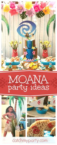 Take a look at this tropical Moana birthday party. Muana Birthday Party, Moana Theme Birthday, Moana Themed Party, Moana Party, First Birthday Parties, Birthday Ideas, Hawai Party, Hawaiian Luau Party, Maui