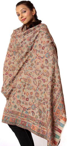 Kashmiri Shawls, Green Books, Pashmina Shawl, Ikat, Scarves, High Neck Dress, Beige, Pure Products, Embroidery