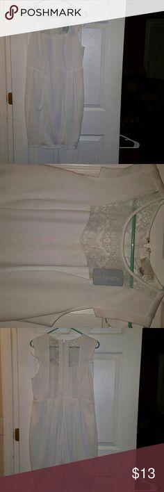 Forever 21 Junior Plus  White Dress (Size 13/14) Short sleeved and short length. Lace Flowers Forever 21 Dresses Midi
