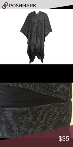 """Solid Knit with Lurex Waves Ruana 100% Acrylic 55"""" x 39"""" + 4"""" Weight: 474g Imported Made in China Jackets & Coats"""