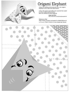 https://flic.kr/p/yhQBc6 | Origami Elephant Paper B&W | I found the instructions for this simple origami elephant here :https://www.youtube.com/watch?v=XsRLD4Gma-A I drew paper especially for this model which can be downloaded here for colored www.flickr.com/photos/jacquedavis/20564985363/in/datepost...   See the model folded here: www.flickr.com/photos/jacquedavis/20997998710/in/datepost...