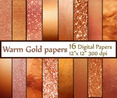 """Rose Gold Foil and Glitter papers: """"GOLD DIGITAL PAPER"""" Rose Gold Backgrounds  Gold Glitter Shimmer Background Sparkle Digital Background"""
