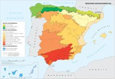 Mapa de las regiones biogeográficas en España.