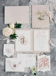 Blush and white calligraphy printed wedding invitation paper suite: http://www.stylemepretty.com/2016/10/09/cultural-couple-portrait-session/ Photography: Jose Villa - http://josevilla.com/