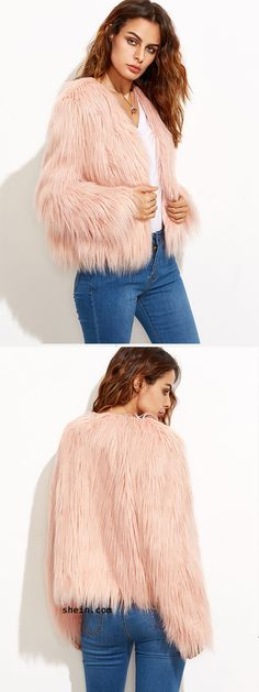 Crop faux fur coat--best choice for party in the cold winter.