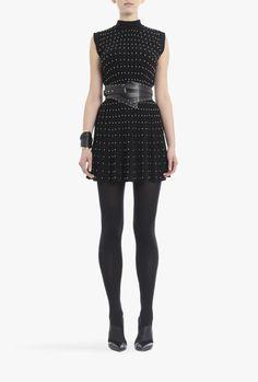 Wool pleated mini dress   Women's knit dresses   Balmain