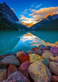 Rocky shore on Lake Louise Canada Amazing Photography, Landscape Photography, Nature Photography, Photography Courses, Photography Tips, Famous Photography, Photography Outfits, Photography Competitions, Aerial Photography