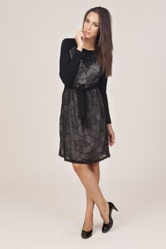 2366126d52d Tantra Lace Dress with Sleeves - Black - Fash London