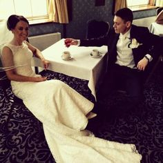 A lovely shot of the amazing Kelly and James taking some time out from their big day.