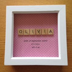 Small New baby girl / boy / christening personalised framed scrabble picture