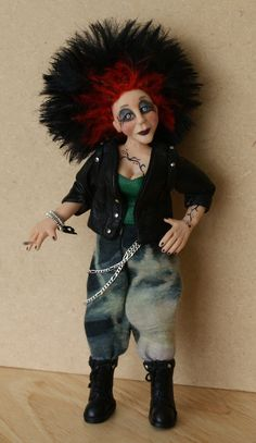 Siouxsie the Punk handsculpted miniature doll by JendlewickDolls