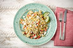 """Mexican Quinoa Jumble with Pepitas, Charred Corn, and Feta. It might seem unconventional to combine so many ingredients, but keep an open mind! The combination of textures and flavors is what makes this """"jumble"""" so great."""