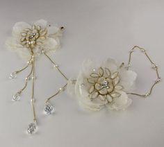 Juliette chain bridal headband silk от EricaElizabethDesign