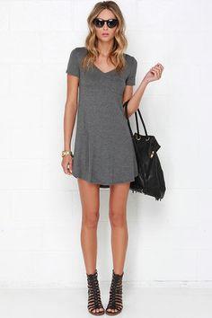 Grey Dress - Shift Dress - Shirt Dress - $33.00