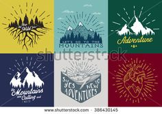 Vintage vector set with inspirational and motivational posters with quotes and graphic elements. The mountains are calling and i must go