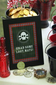 Pirate Party - signs for beverage, food, and dessert tables | Kim Byers, TheCelebrationShoppe.com