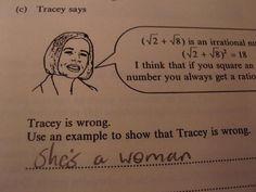 tracey se equivoca muestra porque tracey se equivoca? y el niño pone:es una mujer