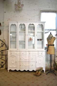 Painted Cottage Chic Shabby White Romantic French China Cabinet [CC622] - $795.00 : The Painted Cottage, Vintage Painted Furniture