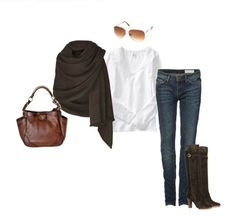 Sweater wrap, jeans and boots