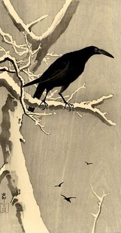 #Crow on a snowy branch, #japonese woodblock print.