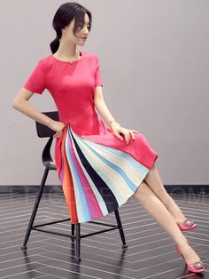 Ericdress Color Block Patchwork Short Sleeve Round Neck Casual Dress 4