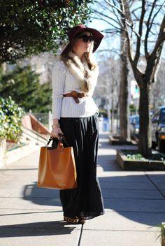 Maxi Skirt, Cardi, Fur Collar, Belt, Felt Hat