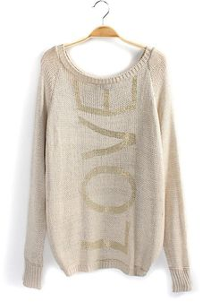 Love...Love...Love... Golden LOVE Print Bright Wire Cotton Blend Pullover #Golden #words #Love #Sweater #Fashion