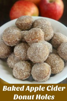 Baked Apple Cider Donut Holes are a delicious 2-bite treat with a taste of Fall. Reducing the cider intensifies the flavor, and the cinnamon sugar coating adds a touch of sweet. Perfect as a snack or dessert, an appetizer for entertaining or on your tailgate spread #donutholes #bakedonutholes #applecider #appleciderdonutholes #Fallrecipe