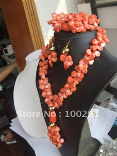 Free ship!!!Pink Coral Jewelry Set Coral Necklace Bracelet Earring Set $57.52