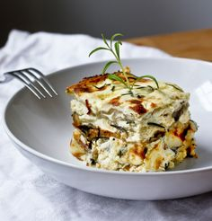 Rosemary Chicken Lasagna with creamy Béchamel  Sauce ...and a little tip on who to use egg roll wrappers instead of pasta, when pinched for time!   www.feasitngathome.com