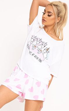 White Unicorn Heart Print PJ Set Slay even when it& time for bed! We are lovin& these pajam. Cute Pajama Sets, Cute Pajamas, Pj Sets, Pyjama Sets, Pyjamas, Pjs, White Unicorn, Sleepwear Women, Heart Print