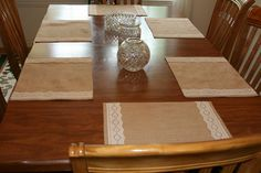 Burlap and flat lace lined or unlined feathered edge rustic