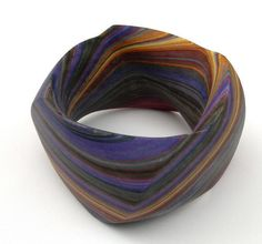 Bracelet |  Susanne Holzinger, 'Violet bark', 2009,  glued layered paper block, carved