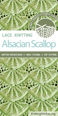 Alsacian Scallop Stitch Pattern is found in the Eyelet and Lace Stitches category. It makes a lovely scarf pattern.  #knittingstitches #knitting #laceknitting
