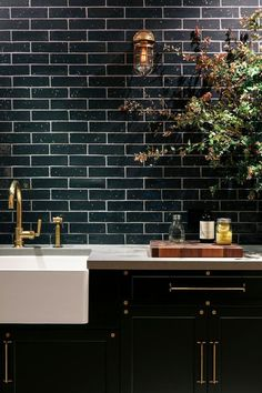 "We have collected some really great Black Subway tiles design to give that modern touch to your kitchen. Checkout Black Subway Tiles In Modern Kitchen Design Ideas"" and get inspired. Black Kitchen Cabinets, Kitchen Interior, Kitchen Inspirations, Interior, Home, Kitchen Remodel, Black Subway Tiles, House Interior, Home Kitchens"
