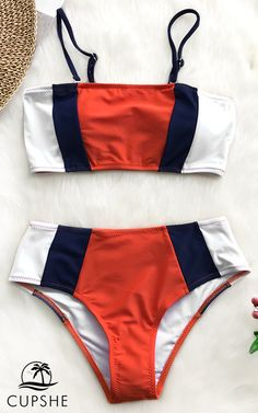 0af75f529f445 Hit the beach in this awesome bandeau bikini set! Featuring a color block  design and