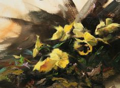 """Pansies"", original oil painting by Ralph Grady James, 9"" x 12"", still life, floral, pansies, flowers"