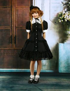 Cotton Black Short Sleeves Lace Cosplay Lolita Dress
