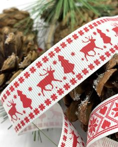 Scandinavian Christmas Ribbon Red And White Nordic Trim Scandi Reindeer And Snowflake Gift Ribbon In 2020 Scandinavian Christmas Christmas Ribbon Create And Craft