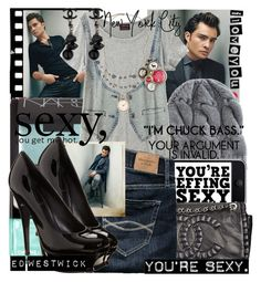 """""""Ed Westwick"""" by blaircorneliawaldorf ❤ liked on Polyvore featuring NARS Cosmetics, Burberry, Chanel, Abercrombie & Fitch, Polaroid, Yves Saint Laurent, Kimchi Blue, ed westwick, pumps and print t-shirt"""