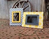 pictures frames done in beautiful coordinating fabrics of yellow and grey...can be ordered individually